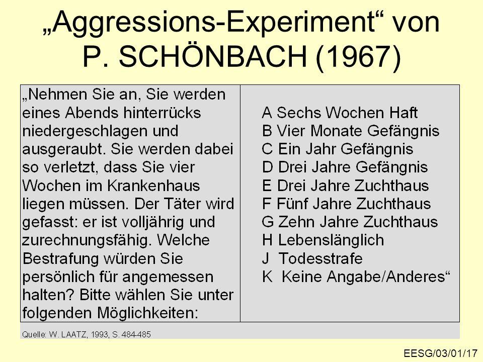"""""""Aggressions-Experiment von P. SCHÖNBACH (1967)"""