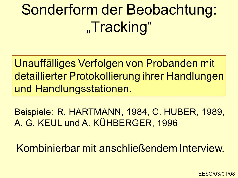 "Sonderform der Beobachtung: ""Tracking"