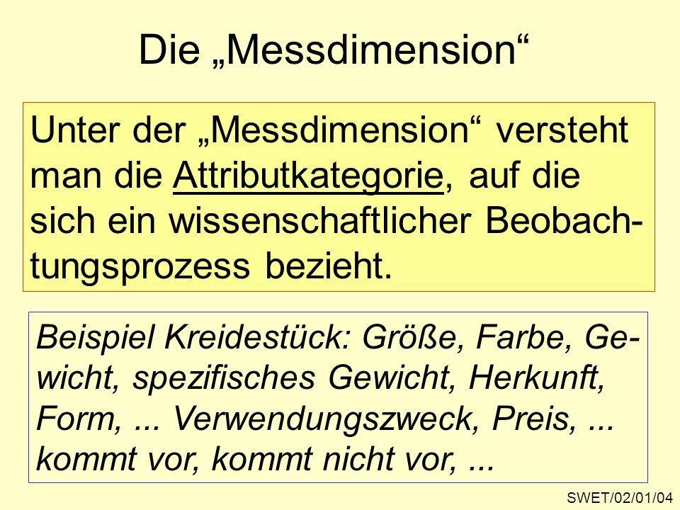 """Die """"Messdimension Unter der """"Messdimension versteht"""