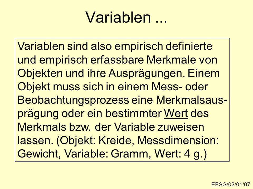 Variablen ... Variablen sind also empirisch definierte