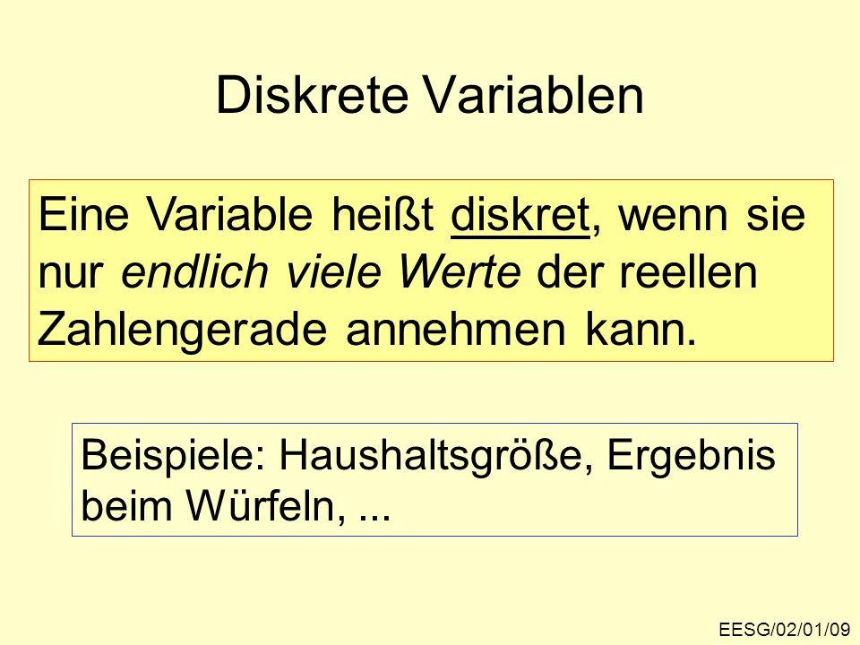 Diskrete Variablen Eine Variable heißt diskret, wenn sie