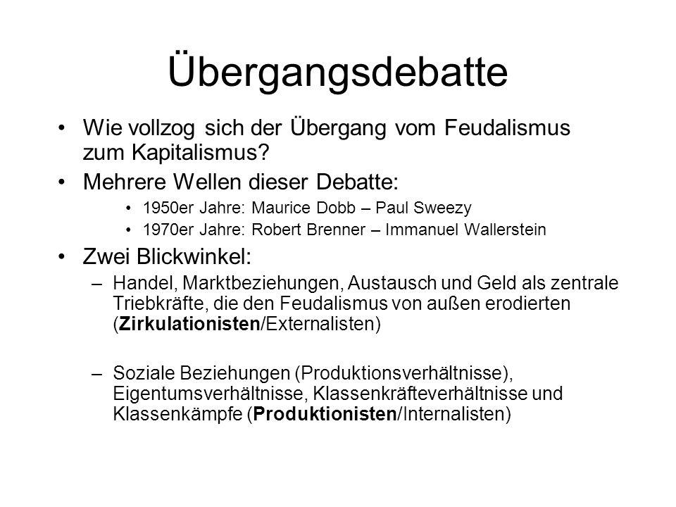 Übergangsdebatte Wie vollzog sich der Übergang vom Feudalismus zum Kapitalismus Mehrere Wellen dieser Debatte: