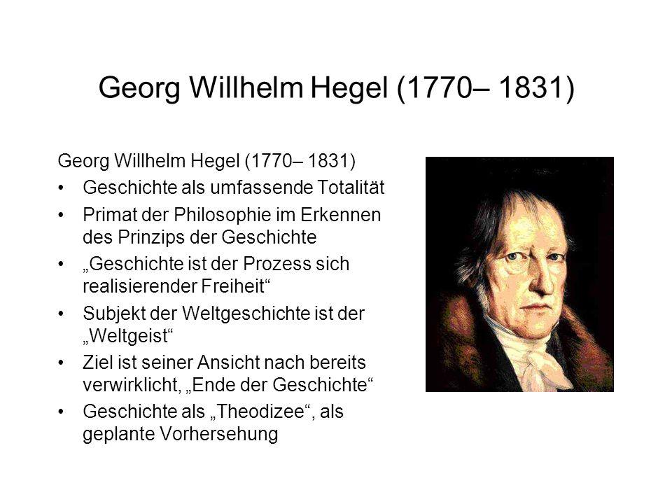 Georg Willhelm Hegel (1770– 1831)