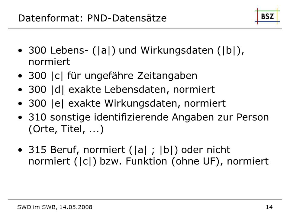Datenformat: PND-Datensätze