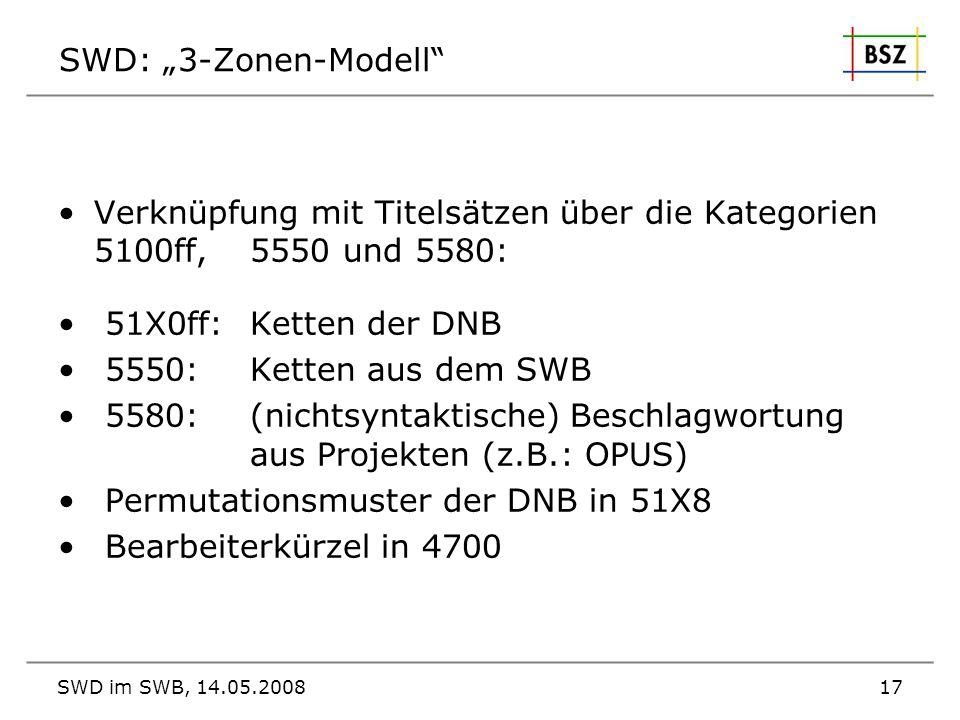 Verknüpfung mit Titelsätzen über die Kategorien 5100ff, 5550 und 5580: