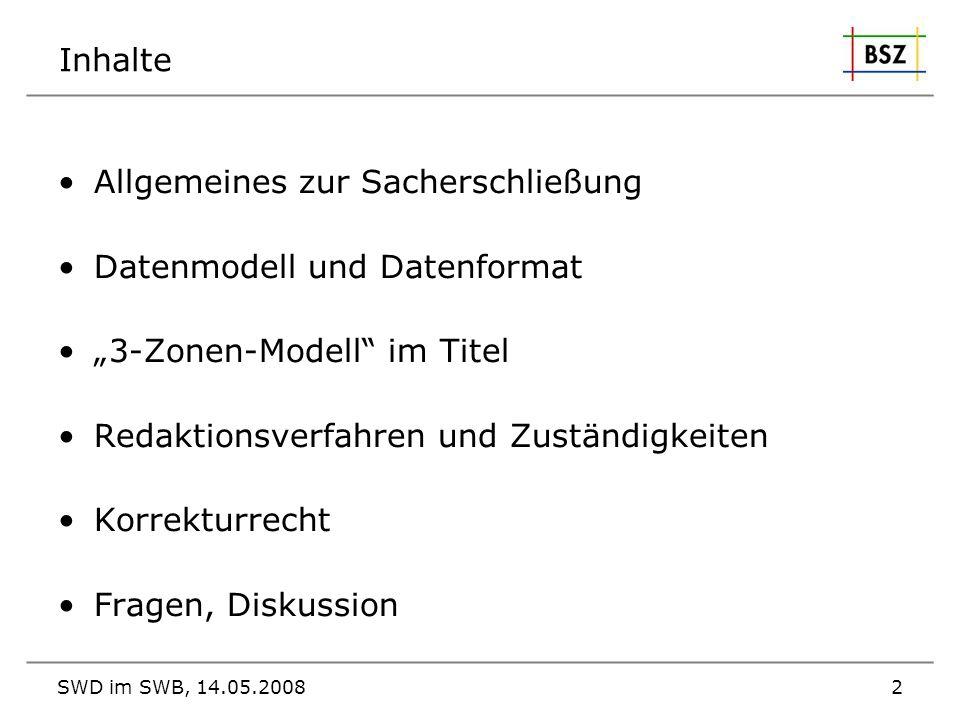 Allgemeines zur Sacherschließung Datenmodell und Datenformat