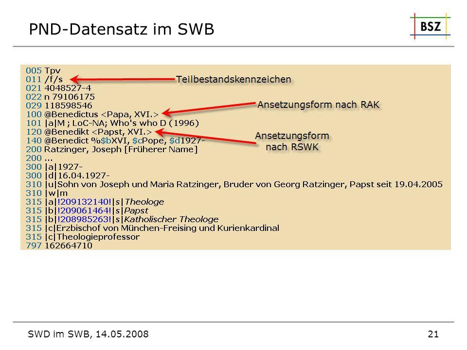 PND-Datensatz im SWB SWD im SWB, 14.05.2008