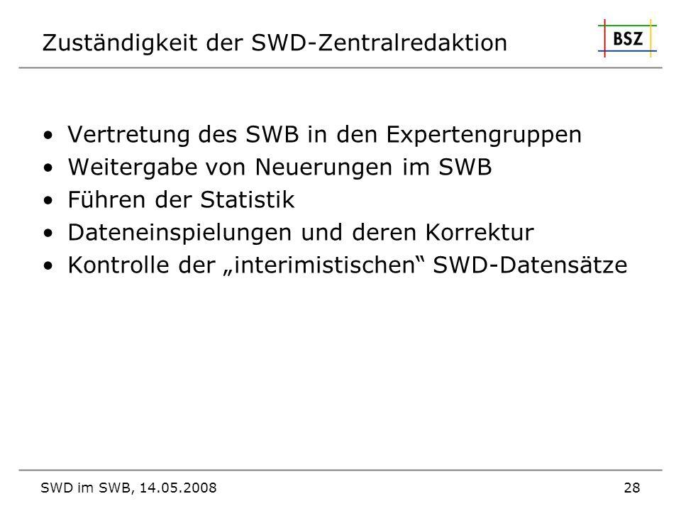 Zuständigkeit der SWD-Zentralredaktion