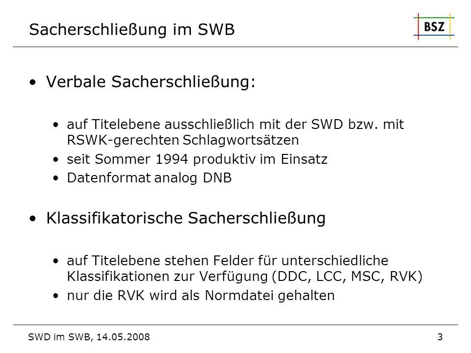 Sacherschließung im SWB