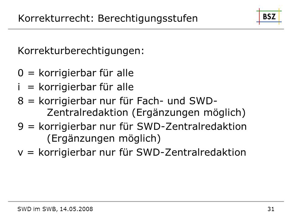 Korrekturrecht: Berechtigungsstufen
