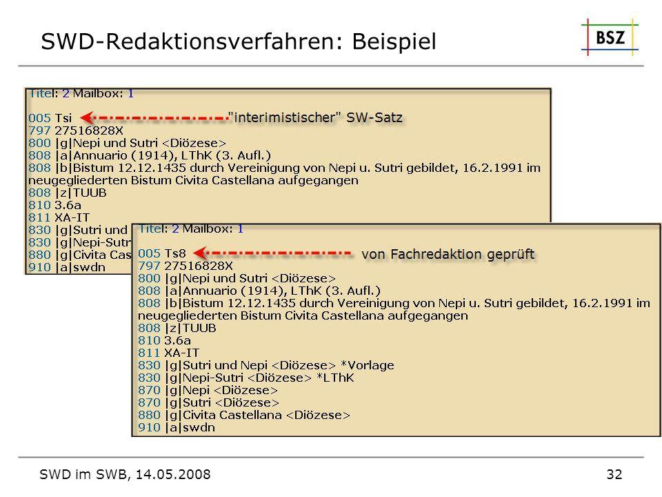 SWD-Redaktionsverfahren: Beispiel