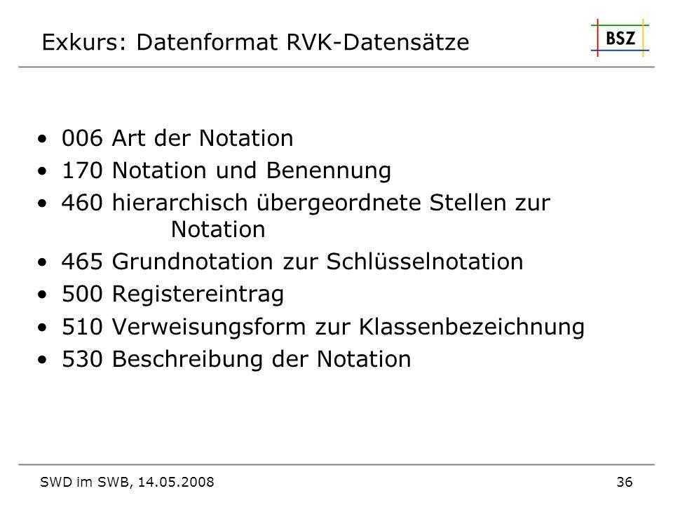 Exkurs: Datenformat RVK-Datensätze