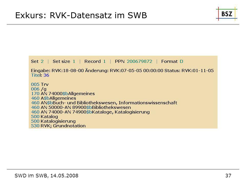 Exkurs: RVK-Datensatz im SWB