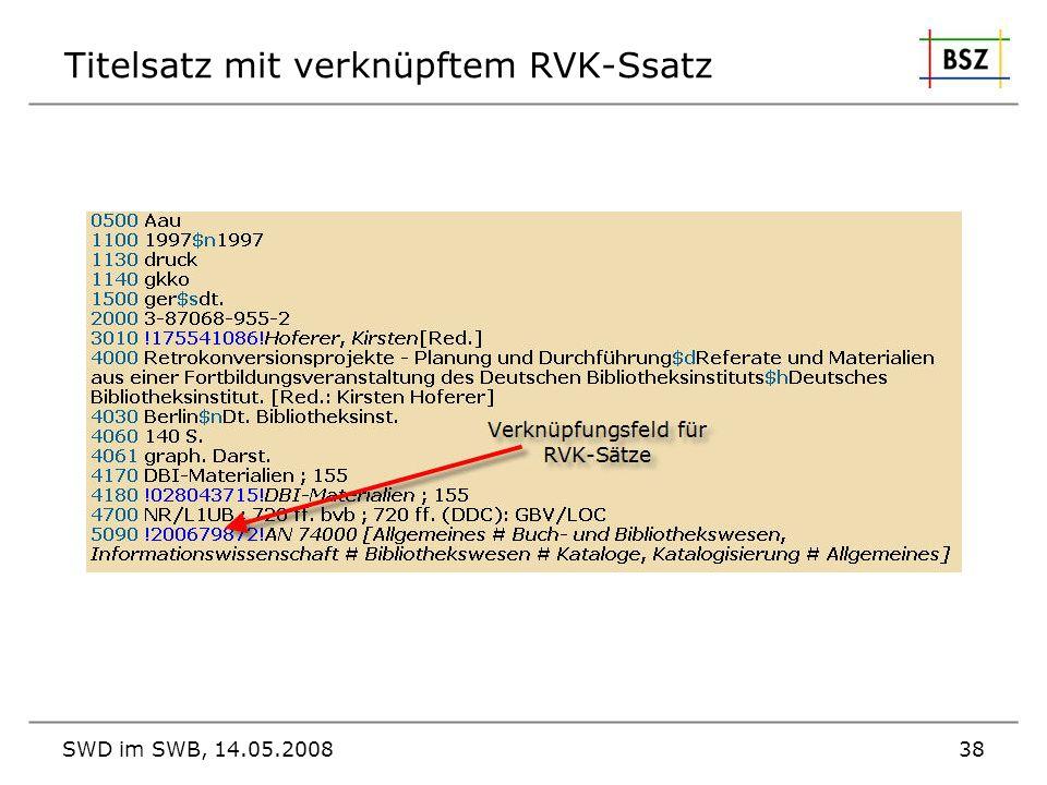 Titelsatz mit verknüpftem RVK-Ssatz