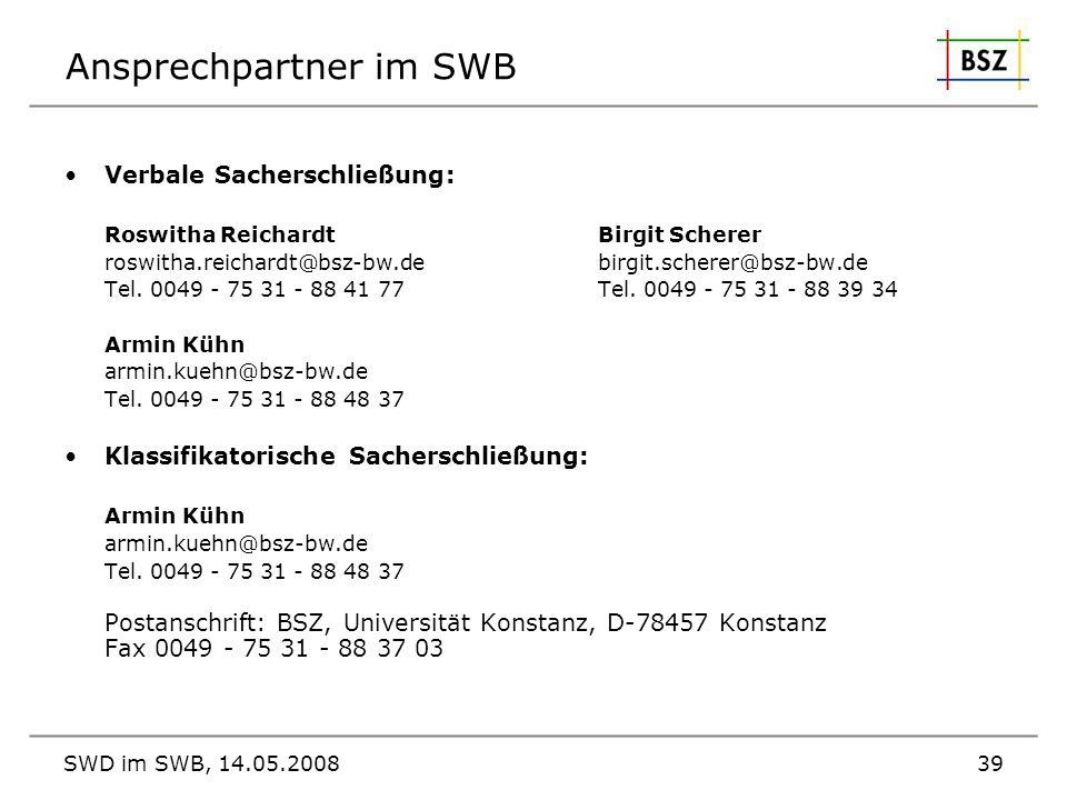 Ansprechpartner im SWB