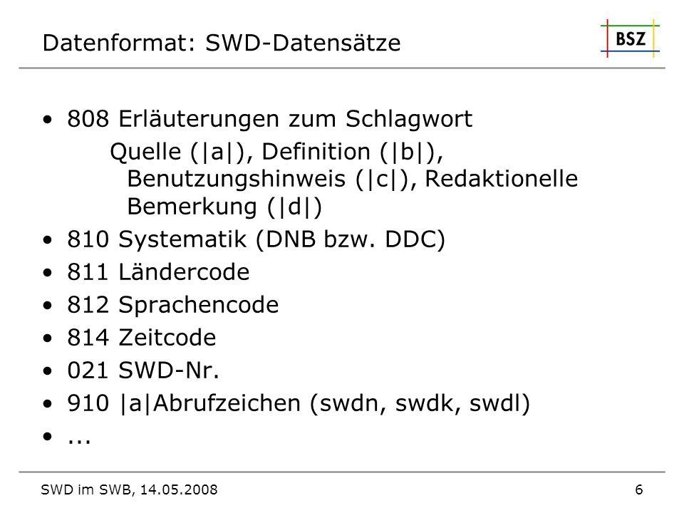 Datenformat: SWD-Datensätze