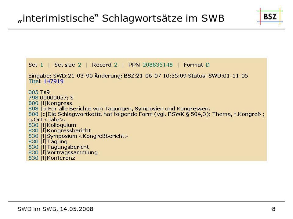 """""""interimistische Schlagwortsätze im SWB"""