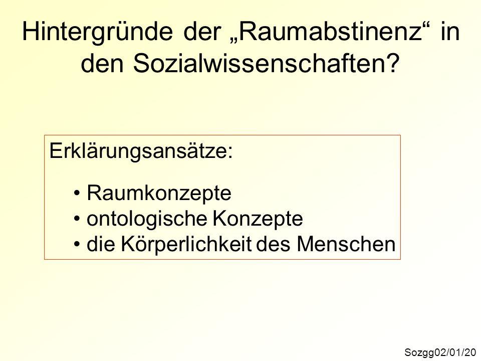 """Hintergründe der """"Raumabstinenz in den Sozialwissenschaften"""