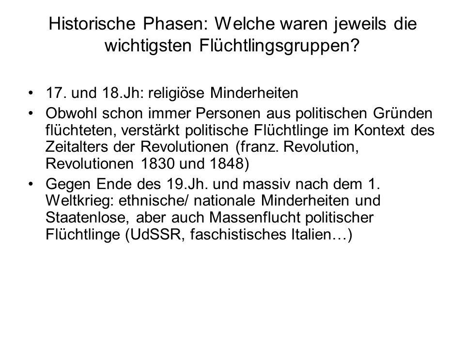 Historische Phasen: Welche waren jeweils die wichtigsten Flüchtlingsgruppen