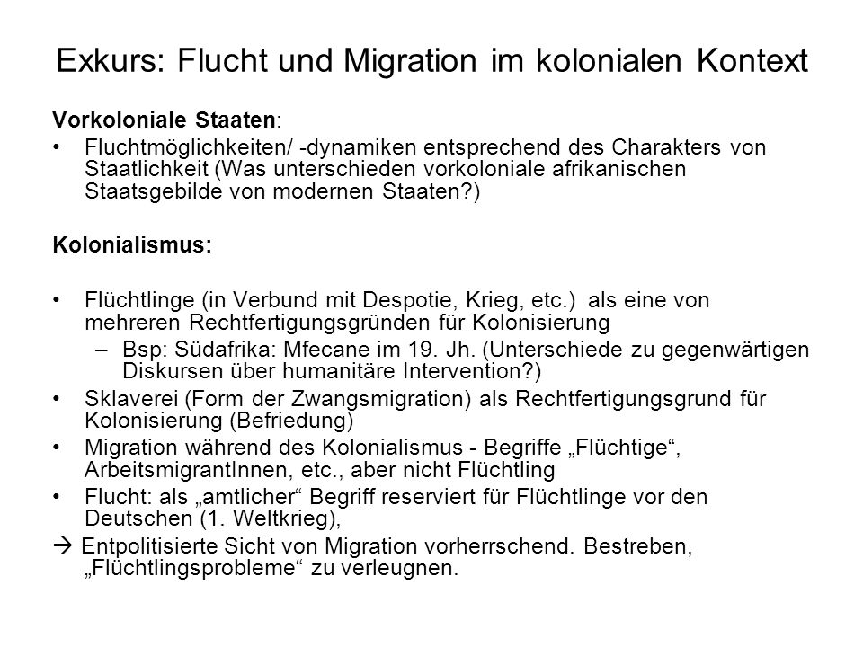 Exkurs: Flucht und Migration im kolonialen Kontext
