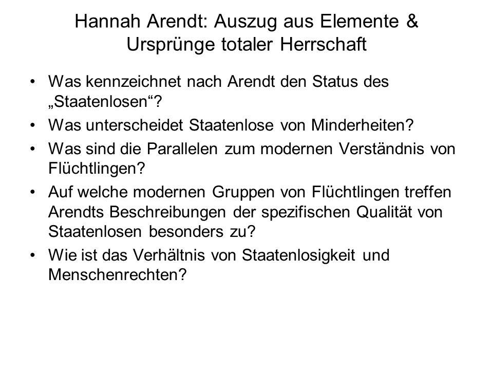 Hannah Arendt: Auszug aus Elemente & Ursprünge totaler Herrschaft