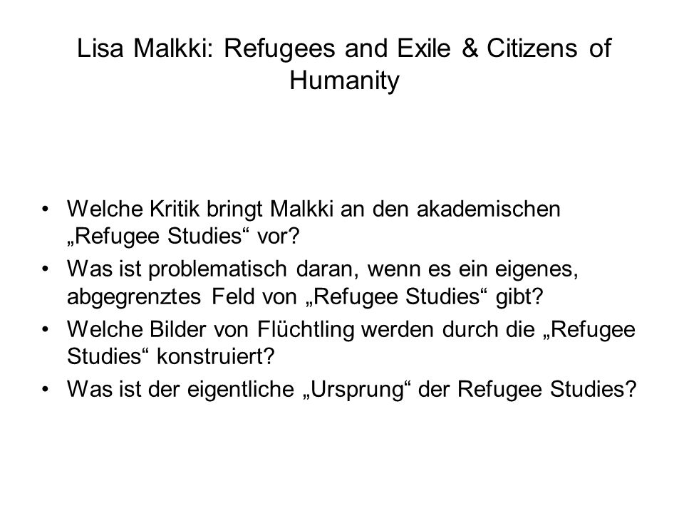 Lisa Malkki: Refugees and Exile & Citizens of Humanity