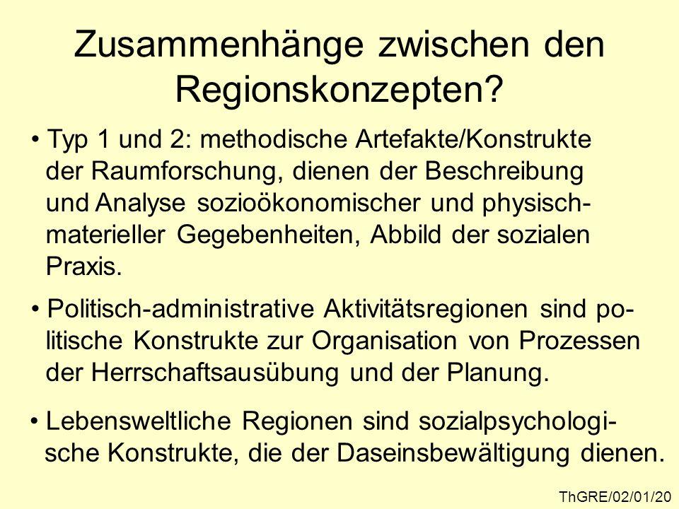 Zusammenhänge zwischen den Regionskonzepten