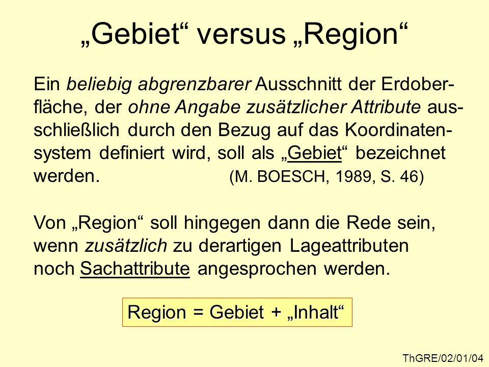 """""""Gebiet versus """"Region"""