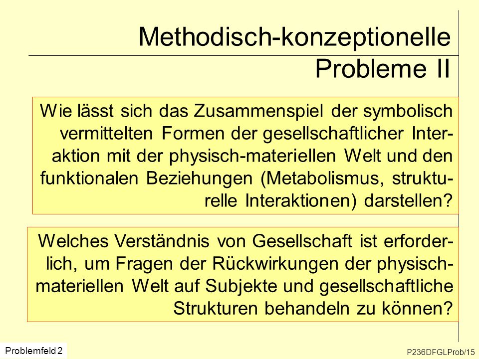 Methodisch-konzeptionelle Probleme II