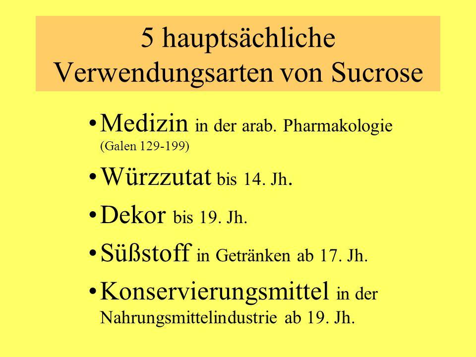 5 hauptsächliche Verwendungsarten von Sucrose