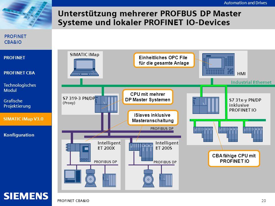 Unterstützung mehrerer PROFBUS DP Master Systeme und lokaler PROFINET IO-Devices