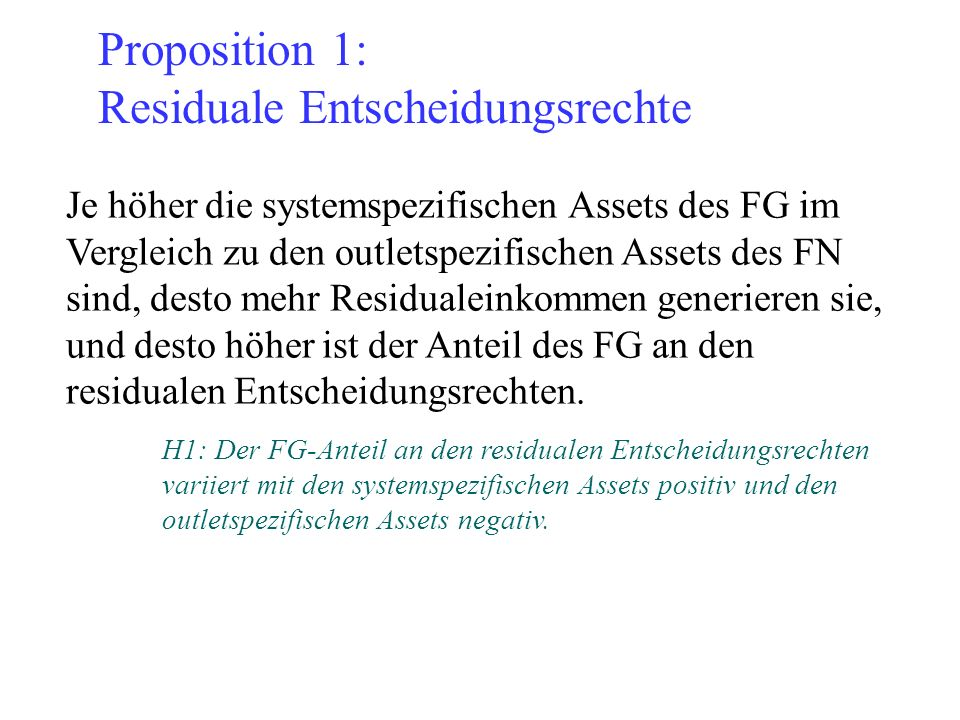Proposition 1: Residuale Entscheidungsrechte