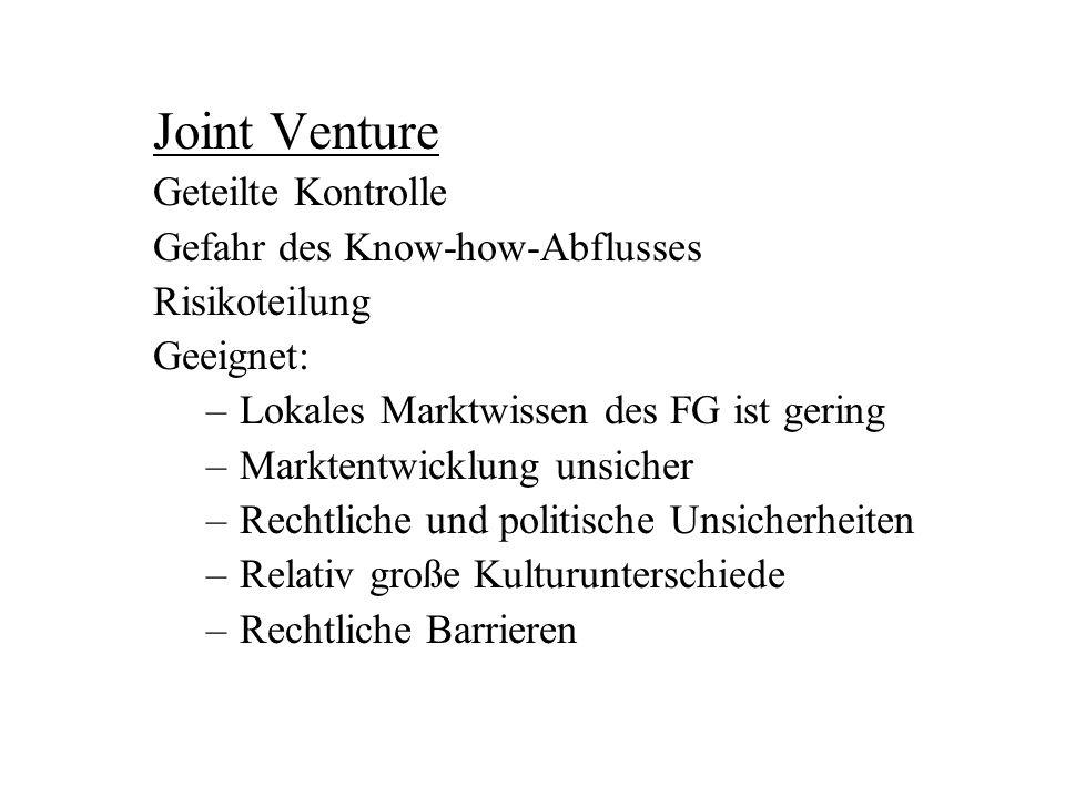 Joint Venture Geteilte Kontrolle Gefahr des Know-how-Abflusses