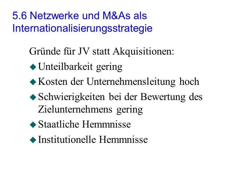 5.6 Netzwerke und M&As als Internationalisierungsstrategie