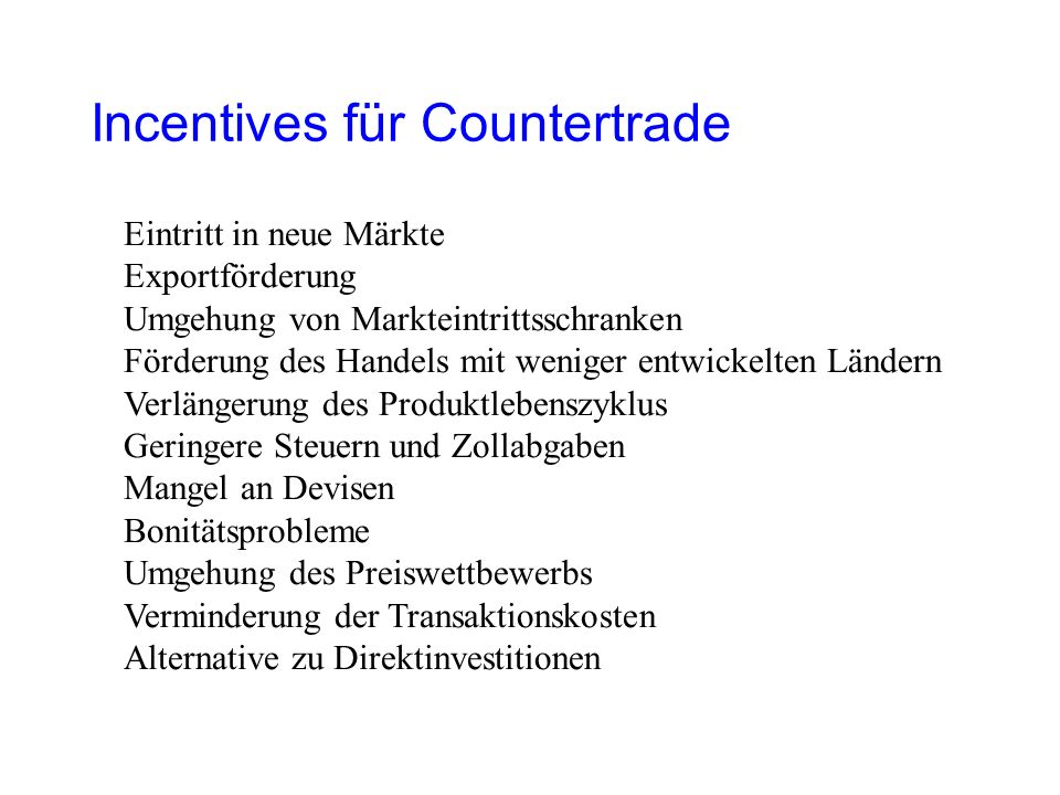 Incentives für Countertrade