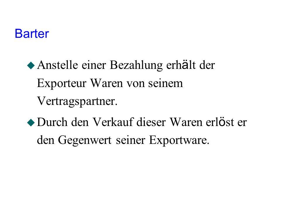 Barter Anstelle einer Bezahlung erhält der Exporteur Waren von seinem Vertragspartner.