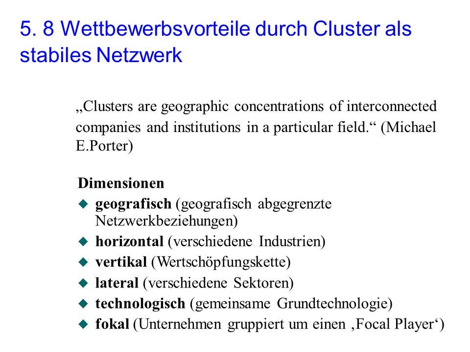5. 8 Wettbewerbsvorteile durch Cluster als stabiles Netzwerk