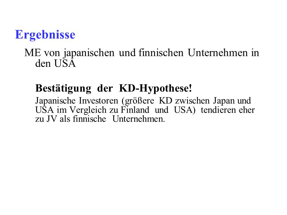 Ergebnisse ME von japanischen und finnischen Unternehmen in den USA