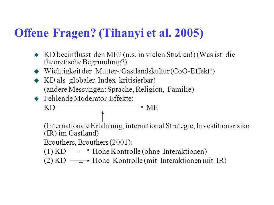 Offene Fragen (Tihanyi et al. 2005)