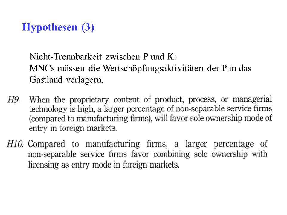 Hypothesen (3) Nicht-Trennbarkeit zwischen P und K: