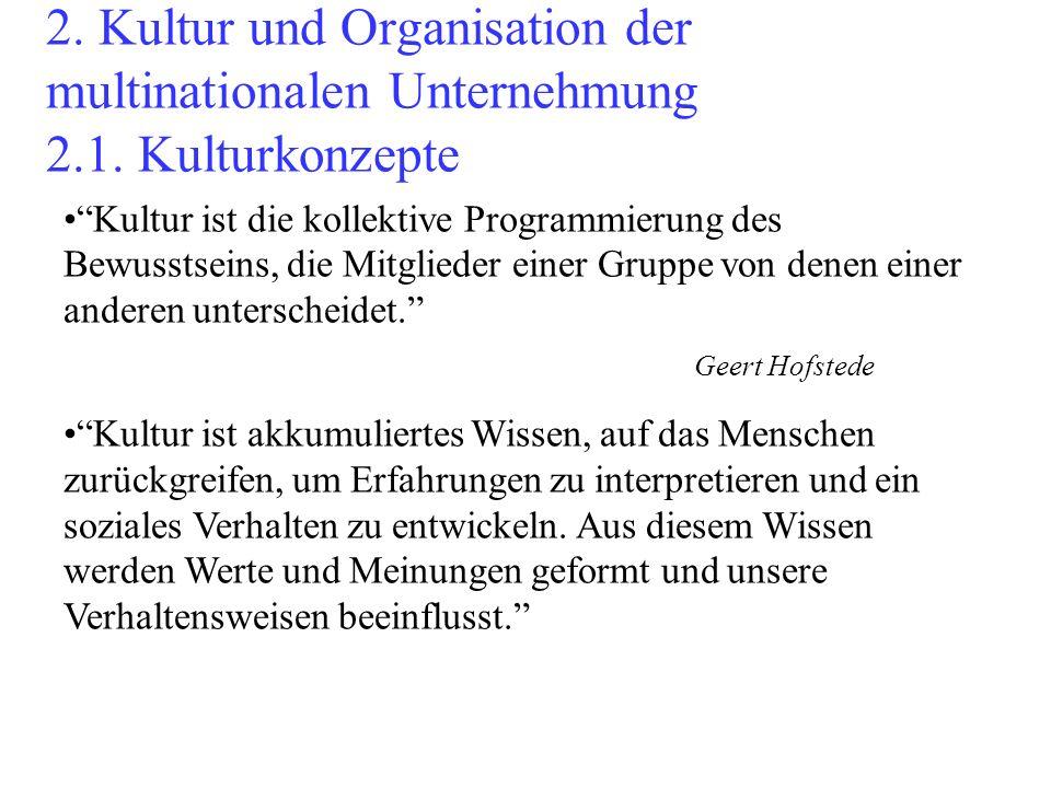 2. Kultur und Organisation der multinationalen Unternehmung 2. 1