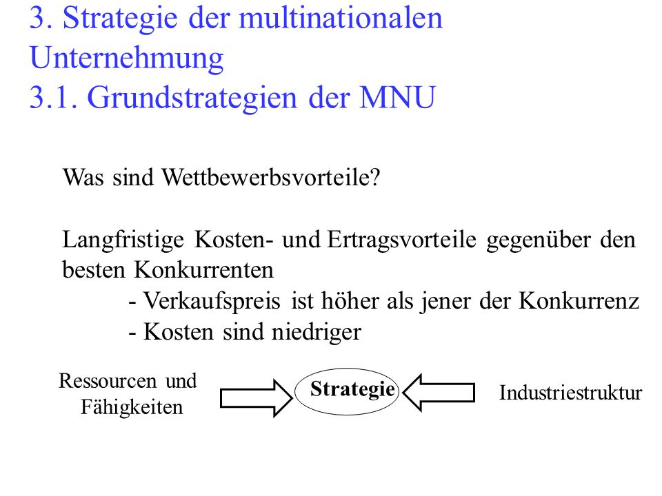 3. Strategie der multinationalen Unternehmung 3. 1