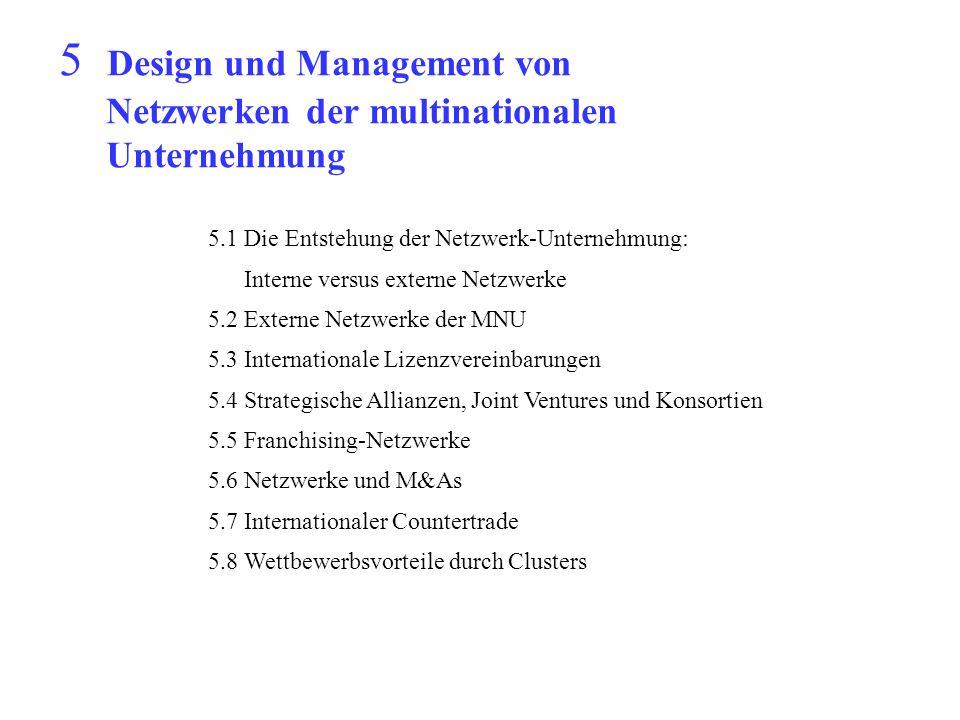 5 Design und Management von Netzwerken der multinationalen Unternehmung