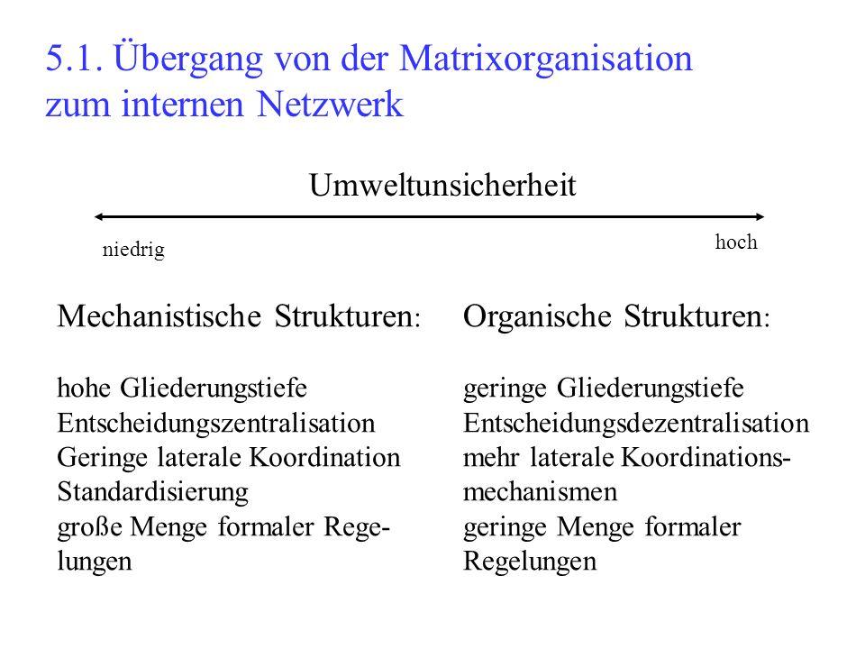 5.1. Übergang von der Matrixorganisation zum internen Netzwerk