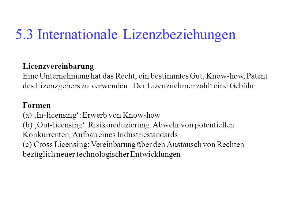 5.3 Internationale Lizenzbeziehungen