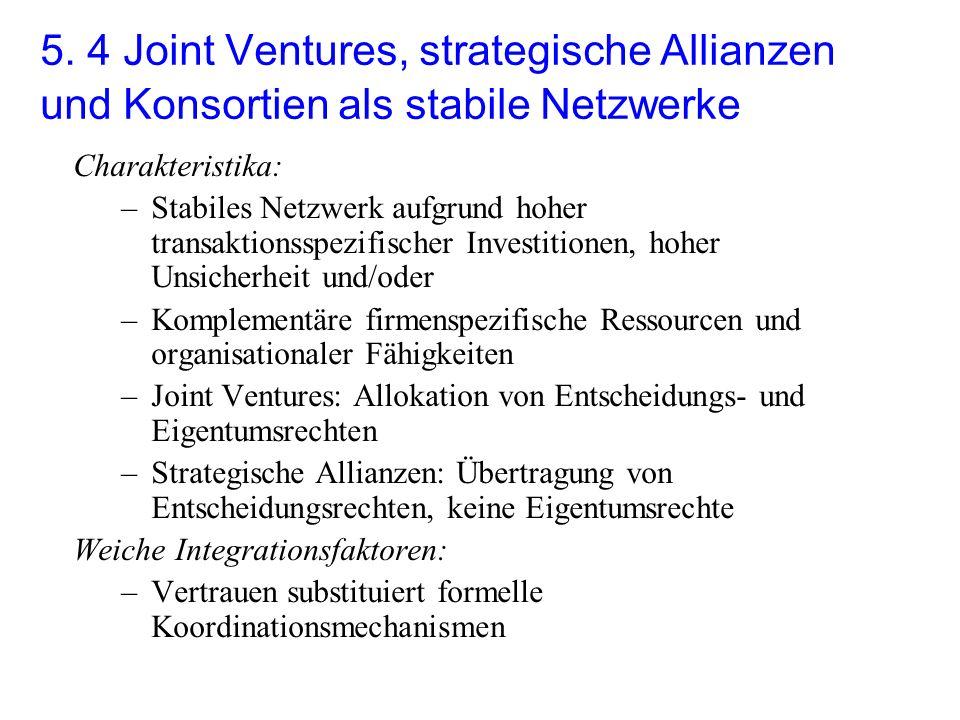 5. 4 Joint Ventures, strategische Allianzen und Konsortien als stabile Netzwerke