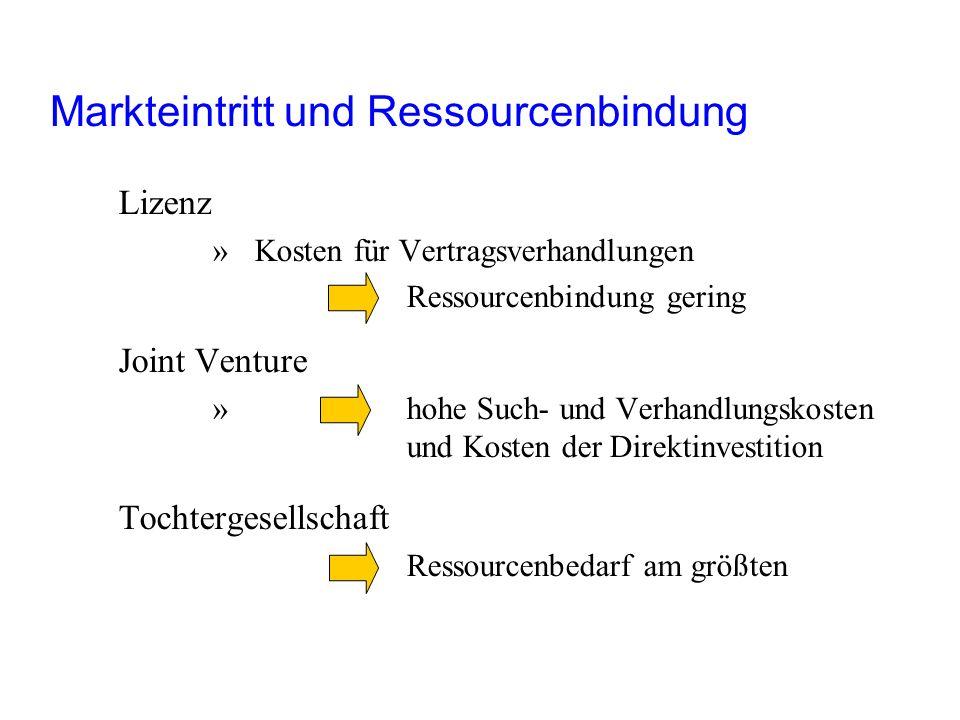 Markteintritt und Ressourcenbindung