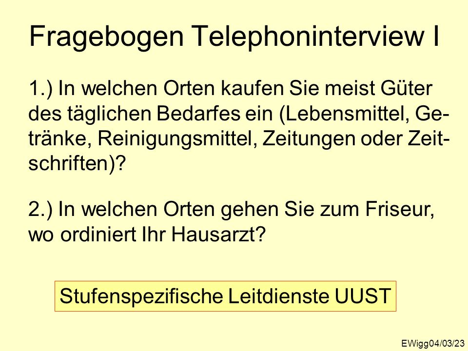 Fragebogen Telephoninterview I