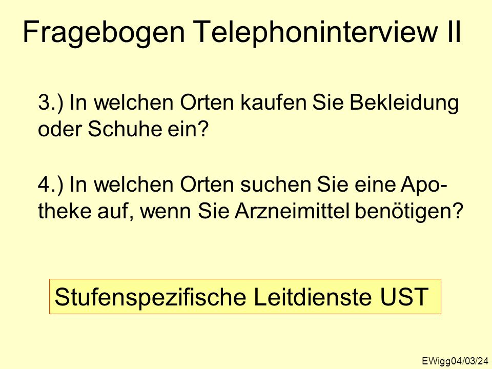 Fragebogen Telephoninterview II