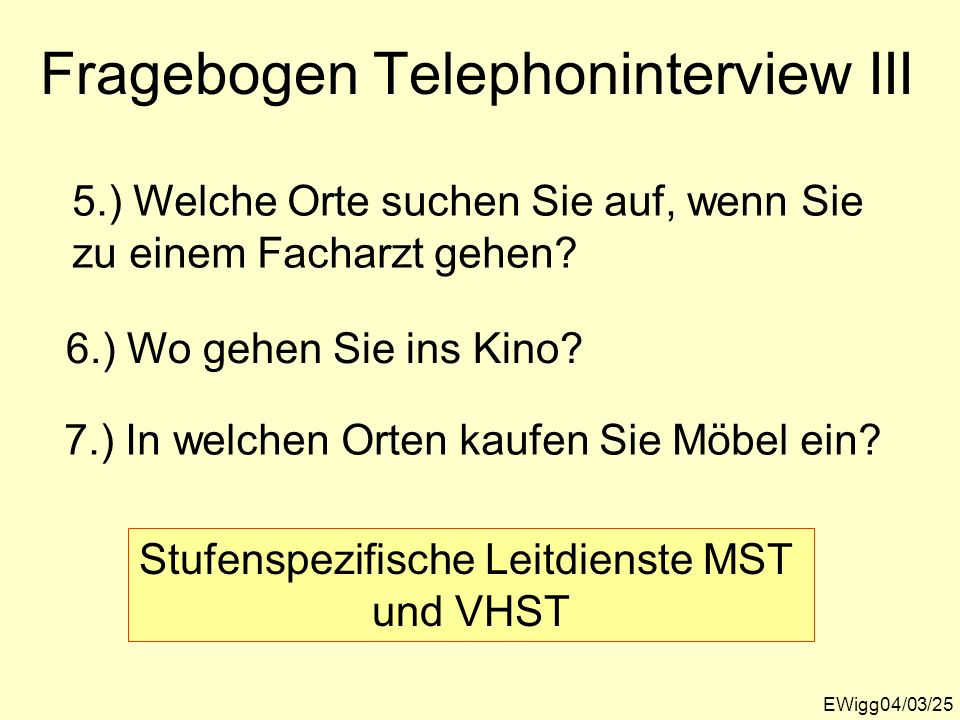 Fragebogen Telephoninterview III